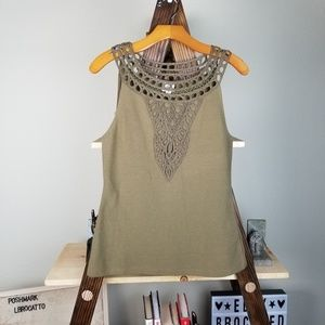 Anthropologie Postage Stamp Olive Lace Ribbed Tank